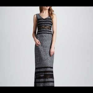 Free people- grey and black lace maxi dress